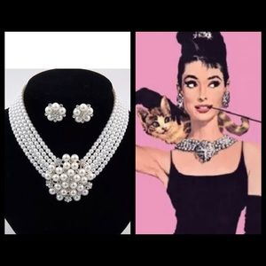 Audrey Pearl Crystal Flower Costume Necklace Set